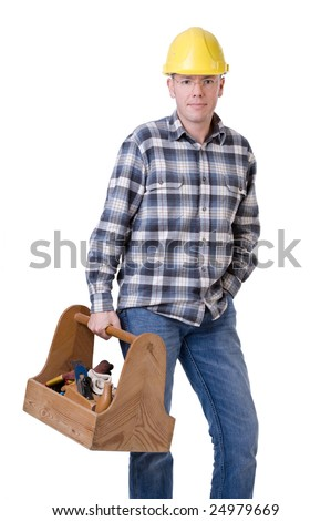 Full isolated studio picture  from a young craftsman with a tool box - stock photo