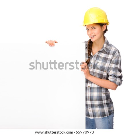 Full isolated studio picture from a young craftswoman - stock photo