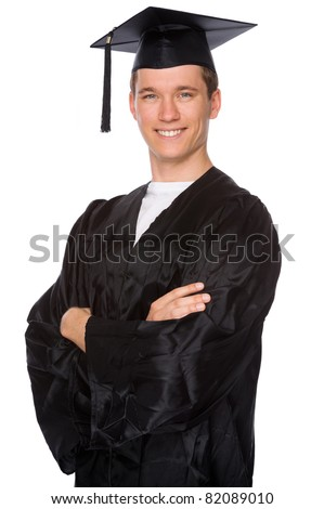 Full isolated studio picture from a young graduation man