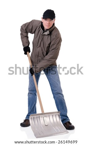 Full isolated studio picture from a young  man with a snow shovel - stock photo