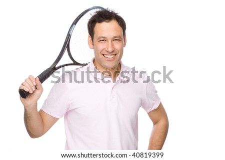 Full isolated studio picture from a young man with tennis racket - stock photo