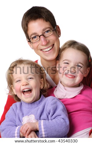 Full isolated studio picture from a young mother with her two children