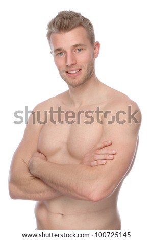 Full isolated studio picture from a young naked man - stock photo