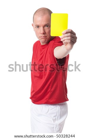 Full isolated studio picture from a young referee