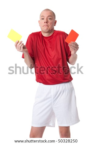 Full isolated studio picture from a young referee - stock photo
