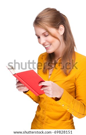 Full isolated studio picture from a young woman reading a book - stock photo