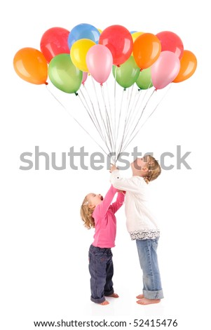 Full isolated studio picture from two little girls with balloons