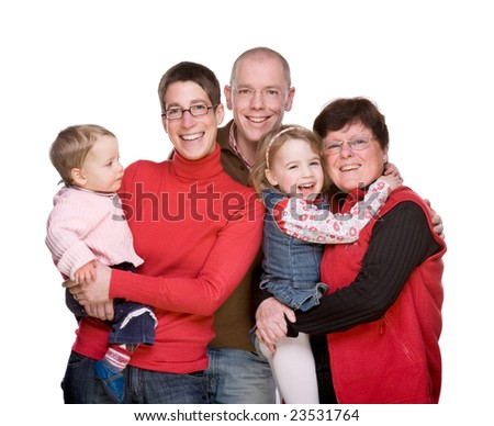 Full isolated studio picture of a happy  caucasian family - stock photo