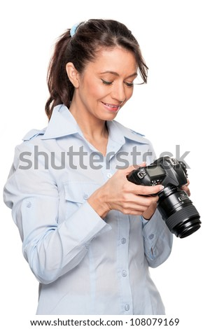 Full isolated woman with dslr
