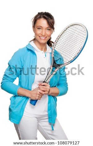 Full isolated woman with tennis racket