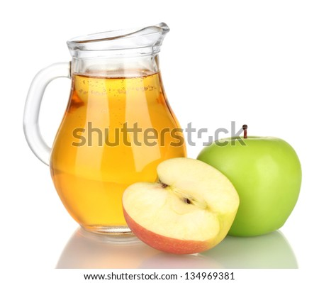 Full jug of apple juice and apple isolated on white - stock photo