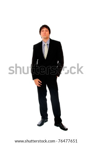 Full lengh of a handsome businessman. Isolated over white background