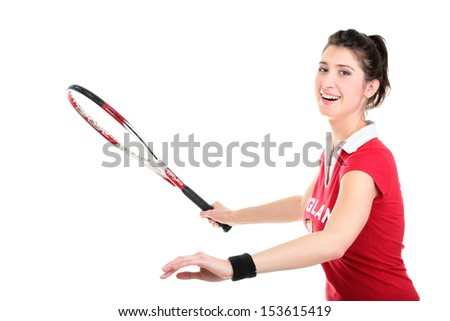 Full lenght isolated studio picture from a young woman with tennis racket - stock photo