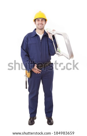 Full lenght of a young worker holding a ladder, isolated on white - stock photo
