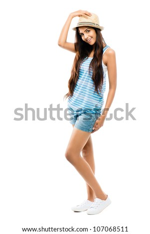 Full length attractive Indian woman fashion model on white background - stock photo