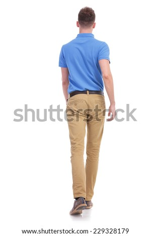 full length back view portrait of a young casual man walking away from the camera. isolated on a white background - stock photo