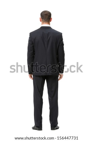 Full-length backview portrait of businessman, isolated on white. Concept of leadership and success - stock photo