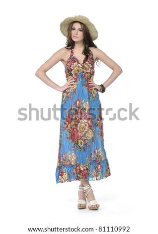 Full length beautiful elegant woman in evening - stock photo
