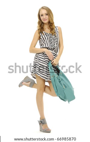 Full length beautiful fashion woman with bag, isolated