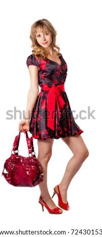 Full length beautiful fashion woman  with bag posing - stock photo