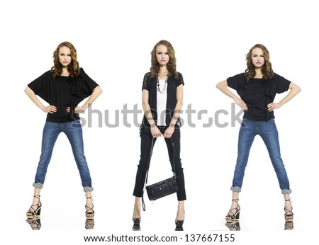 Full length beautiful stylish three girl in jeans with bag - stock photo