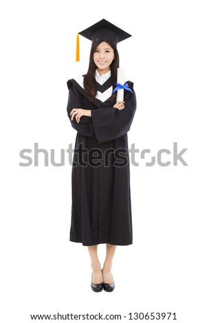 full length beautiful young graduation woman standing with isolated on white background - stock photo
