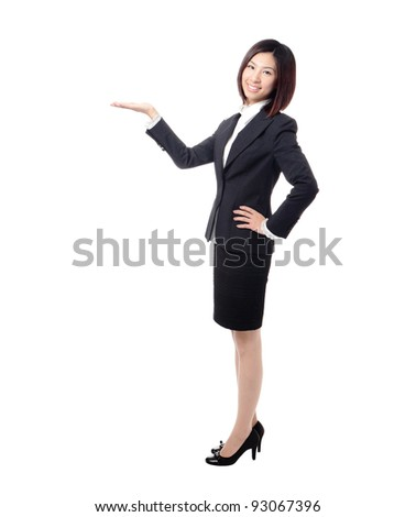 Full length Business woman introducing something by hand isolated on white background, model is a cute asian - stock photo
