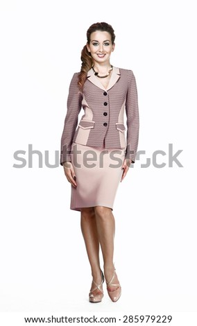 full length business woman portrait in office suite isolated on white