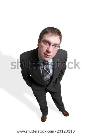 Full length businessman looking on white background - stock photo