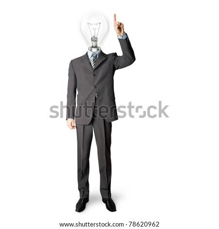 full length businessman with lamp-head push the button on virtual touch pad