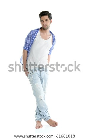 Full length casual denim fashion handsome man over white - stock photo