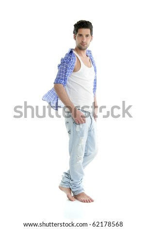 Full length casual denim fashion handsome man over white