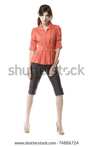 Full length casual fashion women posing shot in studio - stock photo