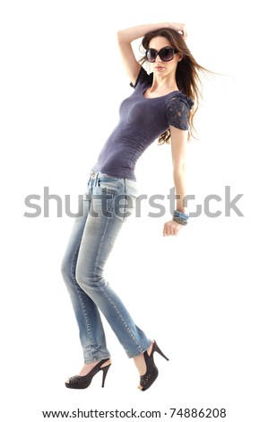 Full length casual young fashion model posing - stock photo
