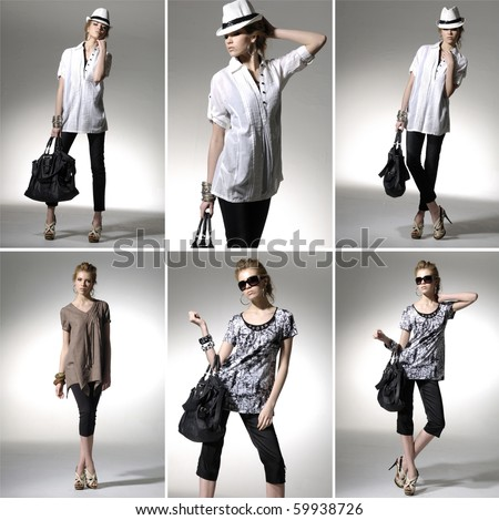 Full length casual young fashionable woman with a bag in light background ,collage - stock photo