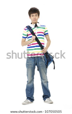 Full length casual young man in jeans standing - stock photo