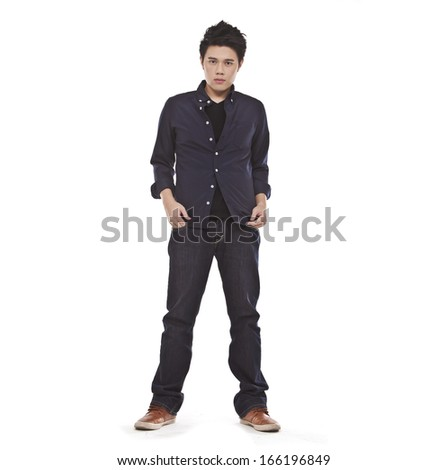 Full length casual young man in jeans standing