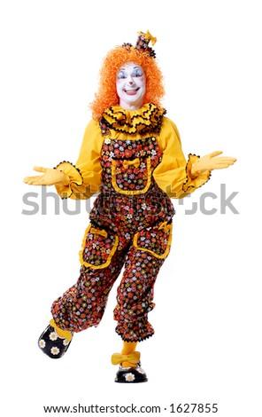 Full Length Clown Posing in the Studio - stock photo