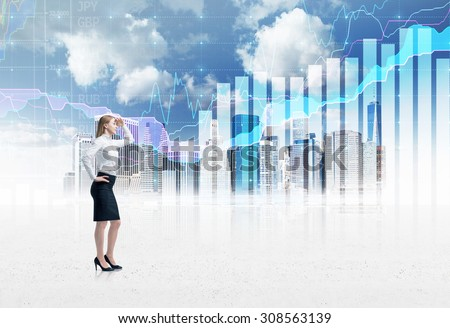 Full-length confident business lady in formal suit. A sketch of New York city and forex chart on the background. A concept of the asset management.