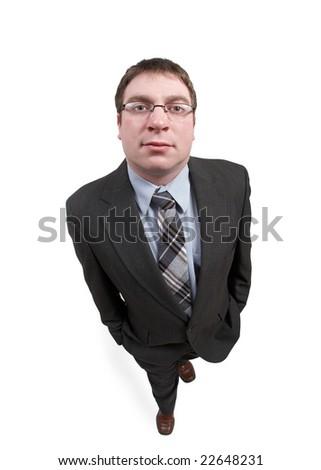 Full length confident businessman on white background - stock photo