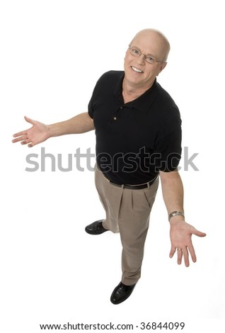 full length, diminishing perspective view of mature man on white background. - stock photo