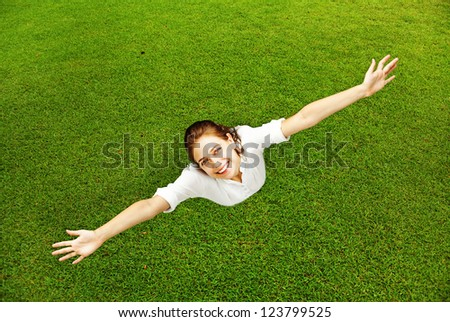 Full-length enjoying freedom of outdoors - stock photo