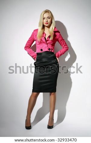 Full length fashion female portrait - stock photo