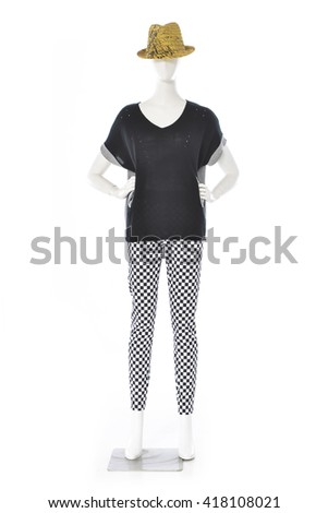 full-length female clothing dress with hat on mannequin-white background - stock photo