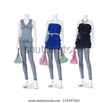 full-length female clothing in blue jeans with bag on three mannequin - stock photo