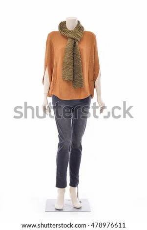full-length female clothing in jeans with scarf on mannequin-white background