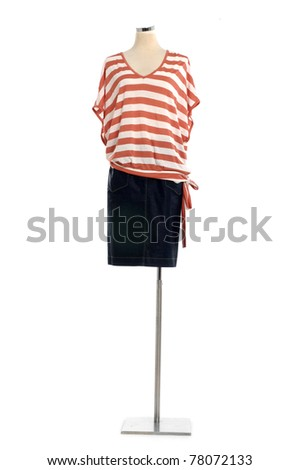 full-length female clothing on a mannequin isolated on white - stock photo