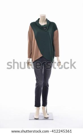 full-length female clothing on mannequin-white background - stock photo