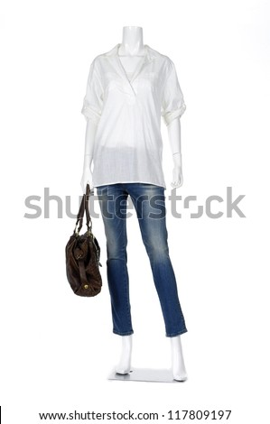 Full length female mannequin shirt dressed in jeans with bag