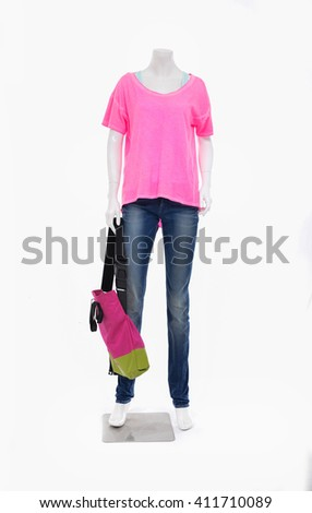 Full length female mannequin shirt dressed in jeans with bag isolated background - stock photo
